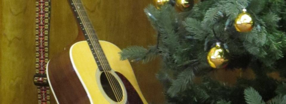 guitar and xmas tree