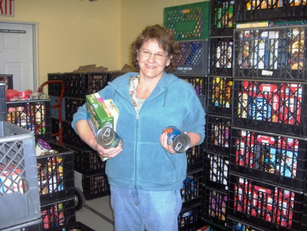 Lady with canned goods