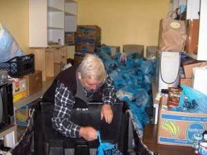 Man sorting food