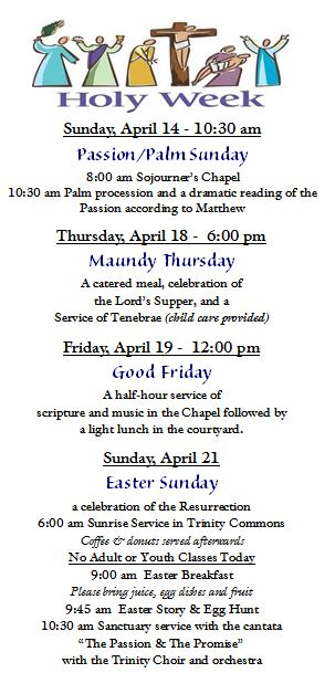 2019 Holy Week Calendar