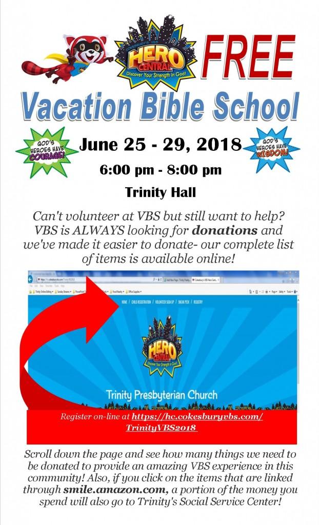 2018 Vacation Bible School Donating Trinity Presbyterian Church